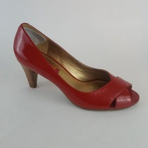 Ecco Pumps Peep Toe Red Patent Leather 37 7